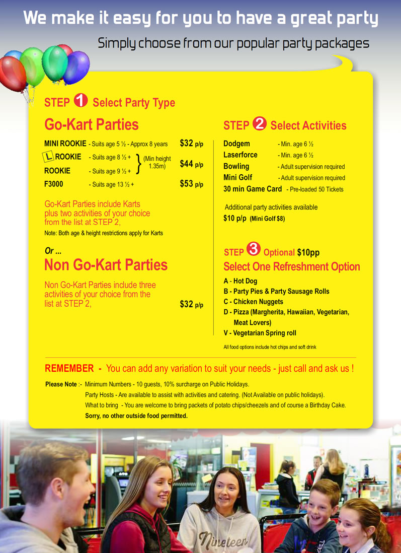Sidetracked Entertainment Centre Party Packages